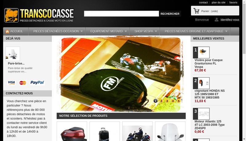 Capture d'écran du site de Transcopack