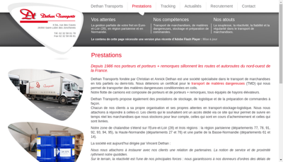 Capture d'écran du site de Dethan Transports