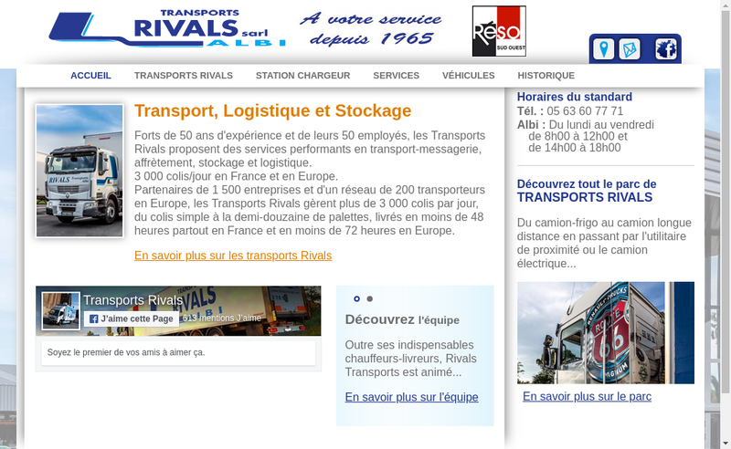 Capture d'écran du site de Transports Rivals