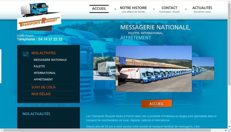 Capture d'écran du site de Transports Rousset