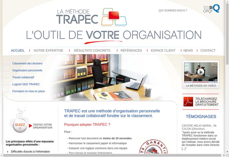 Capture d'écran du site de Trapec