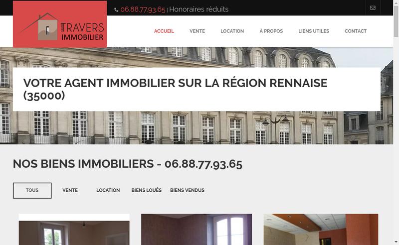 Capture d'écran du site de Travers Immobilier