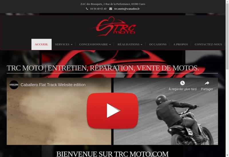 Capture d'écran du site de Trc Moto