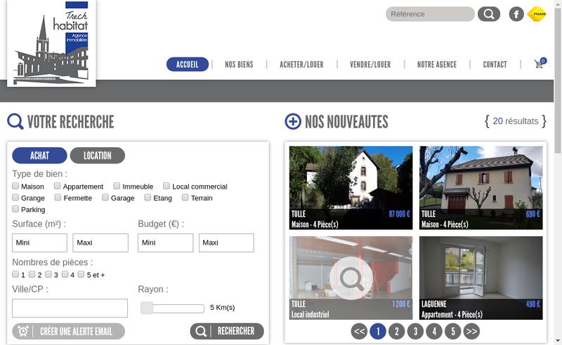 Capture d'écran du site de Trech Habitat