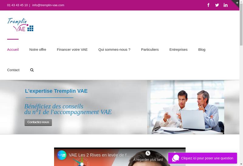 Capture d'écran du site de Tremplin Vae