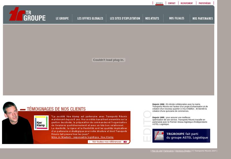 Capture d'écran du site de Transports Reunis Services