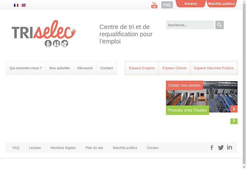 Capture d'écran du site de Triselec