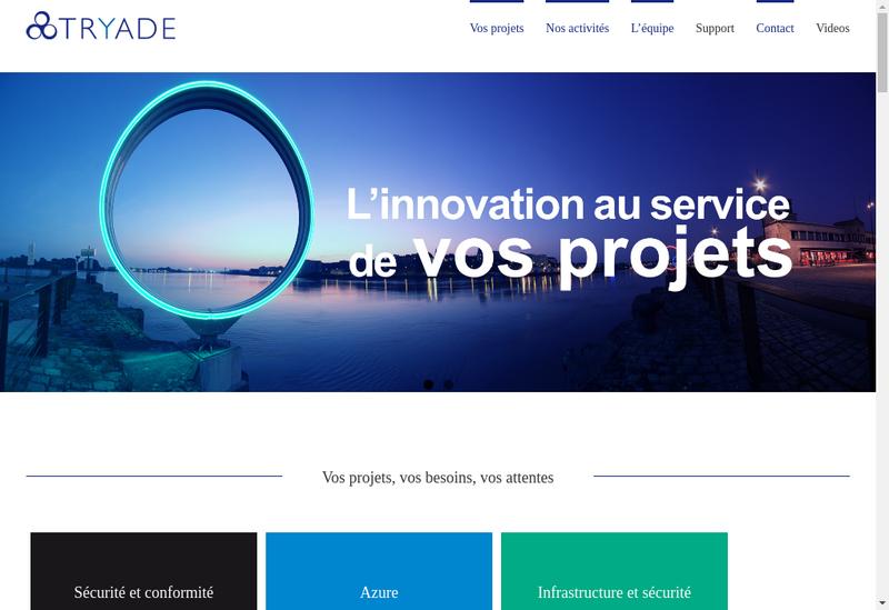 Capture d'écran du site de Tryade