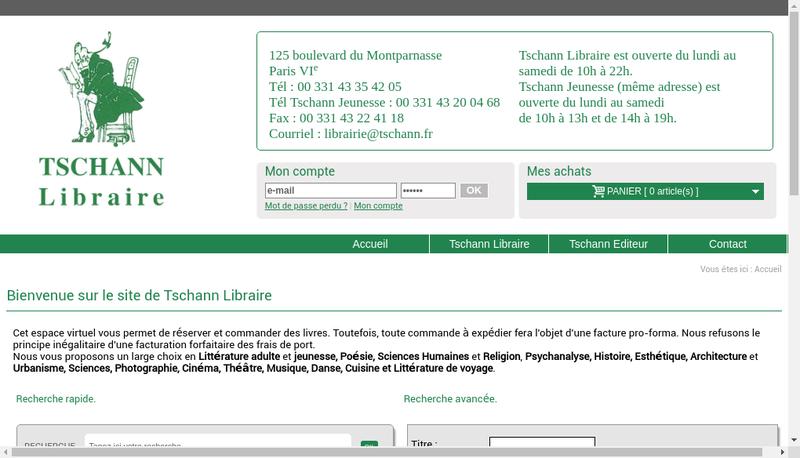 Capture d'écran du site de Tschann Libraire