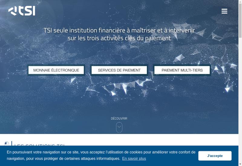 Capture d'écran du site de Tsi - Transaction Services Internation