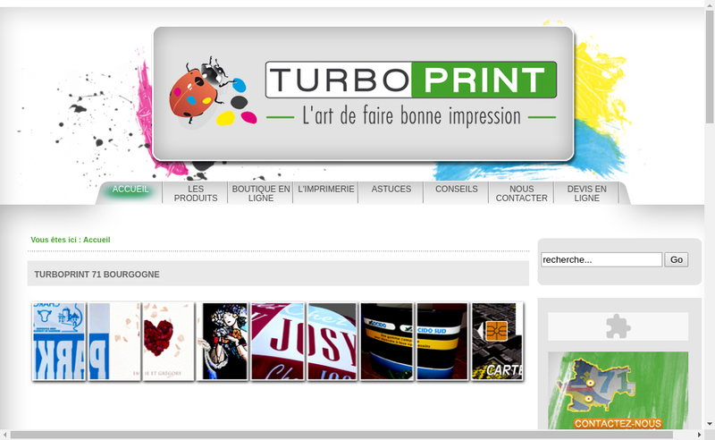 Capture d'écran du site de Turboprint