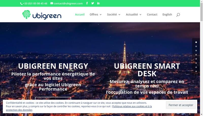 Capture d'écran du site de Ubigreen