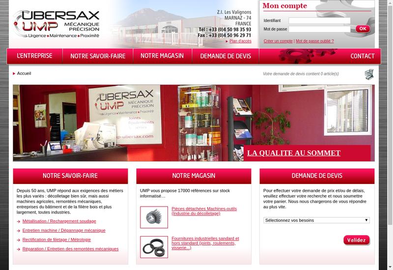 Capture d'écran du site de Ubersax Mecanique de Precision