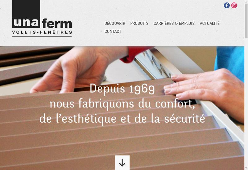 Capture d'écran du site de Unaferm