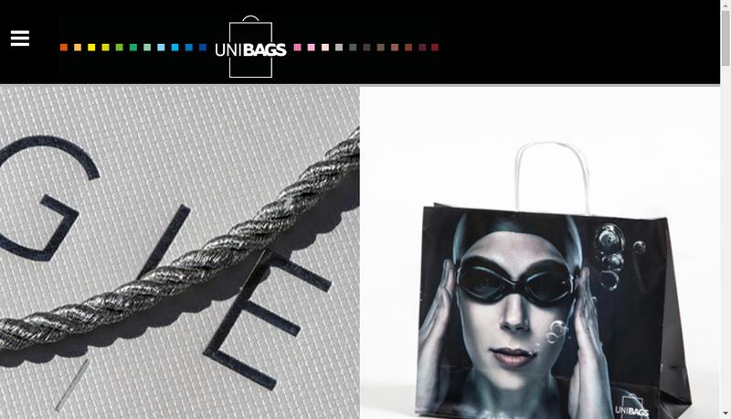 Capture d'écran du site de Unibags