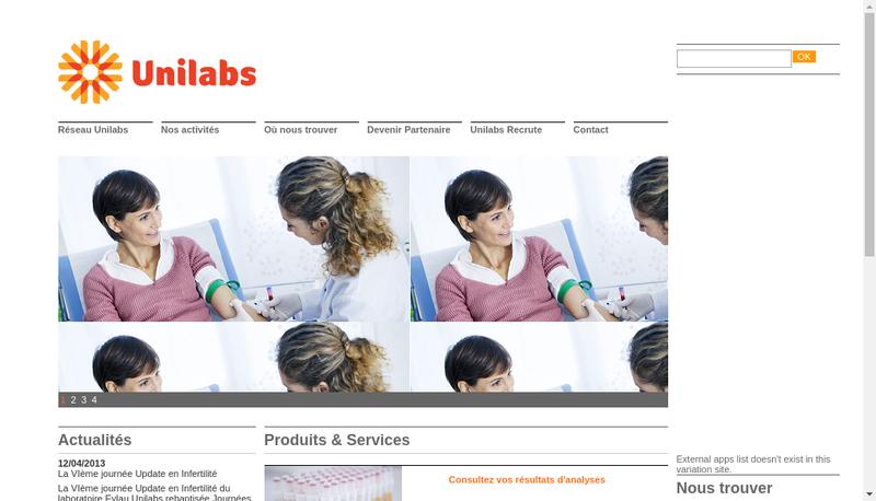 Capture d'écran du site de Dynabio Unilabs