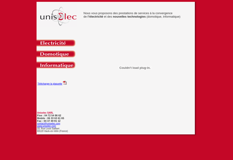 Capture d'écran du site de Uniselec