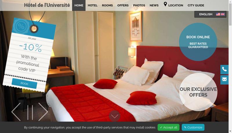 Capture d'écran du site de Societe Hotel de l'Universite