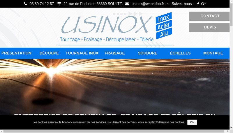 Capture d'écran du site de Usinox