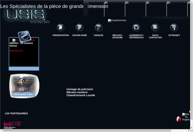 Capture d'écran du site de Usis Entreprise