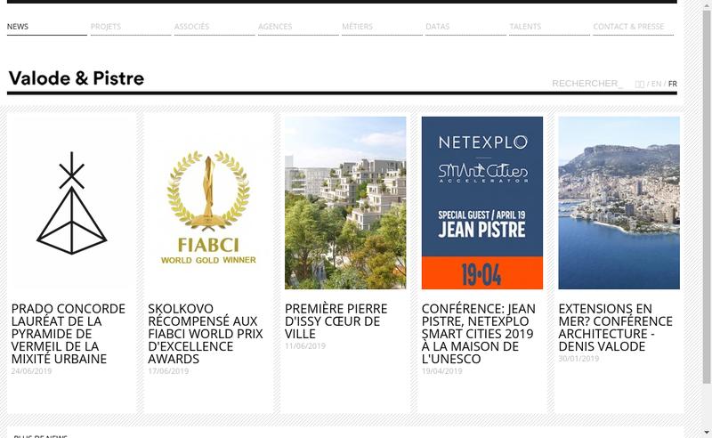 Capture d'écran du site de Valode et Pistre Architectes