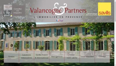 Capture d'écran du site de Valancogne Immobilier