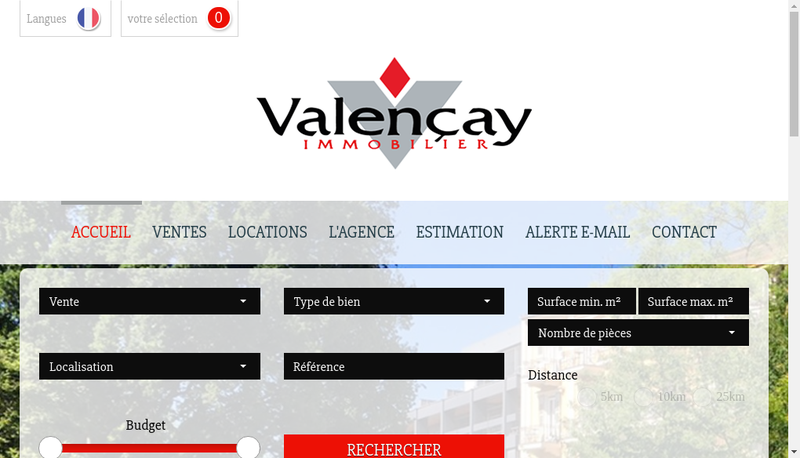 Capture d'écran du site de Valencay Immobilier SARL