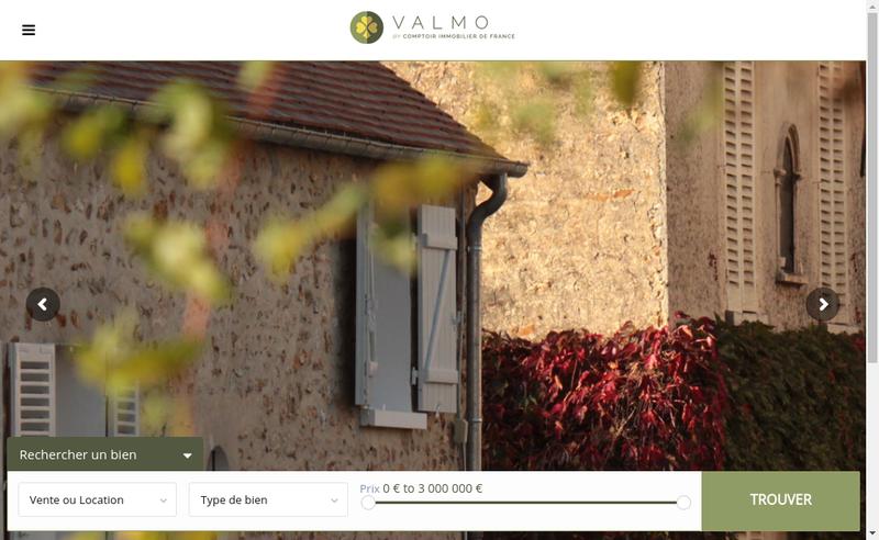 Capture d'écran du site de SARL Valmo Immobilier