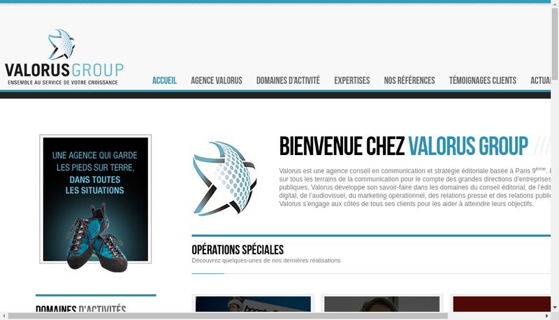 Capture d'écran du site de Valorus Group