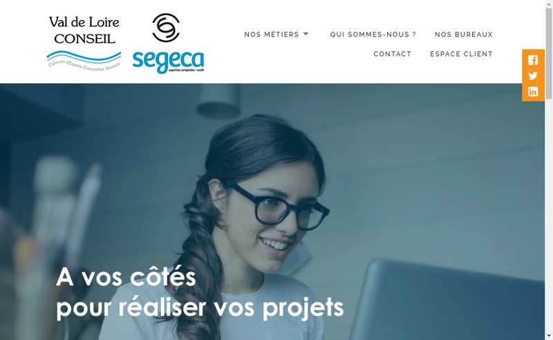 Capture d'écran du site de Val de Loire Conseil
