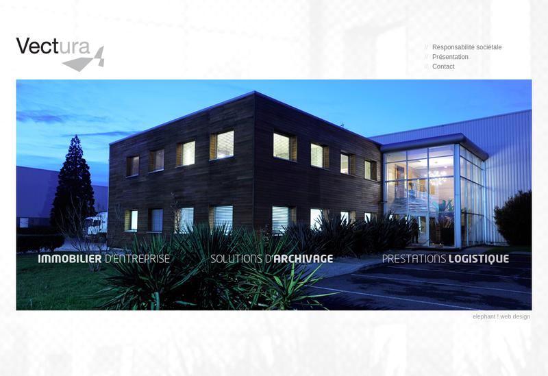Capture d'écran du site de Vectura Archivage