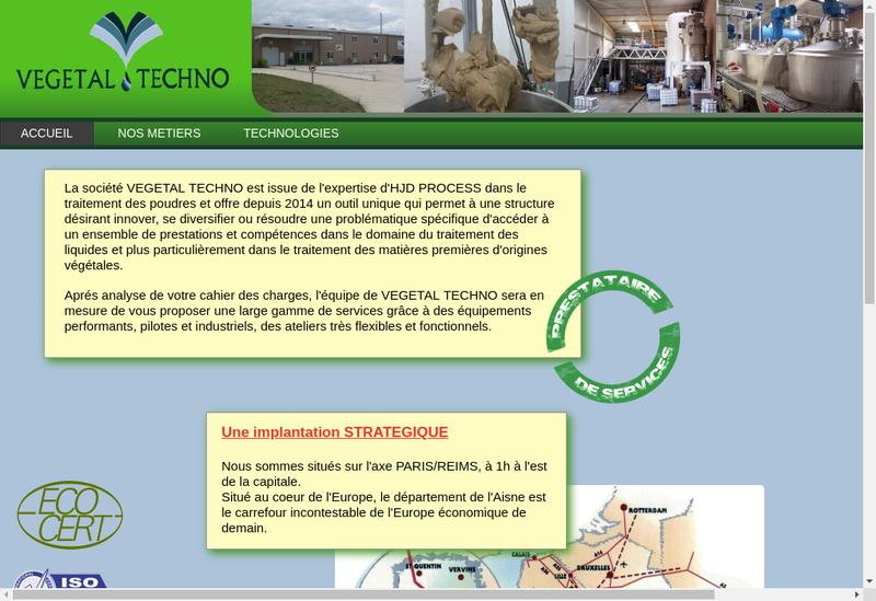 Site internet de Vegetal Techno