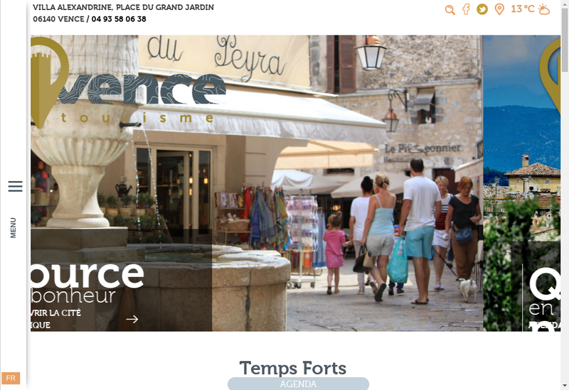 Capture d'écran du site de Office de Tourisme de Vence