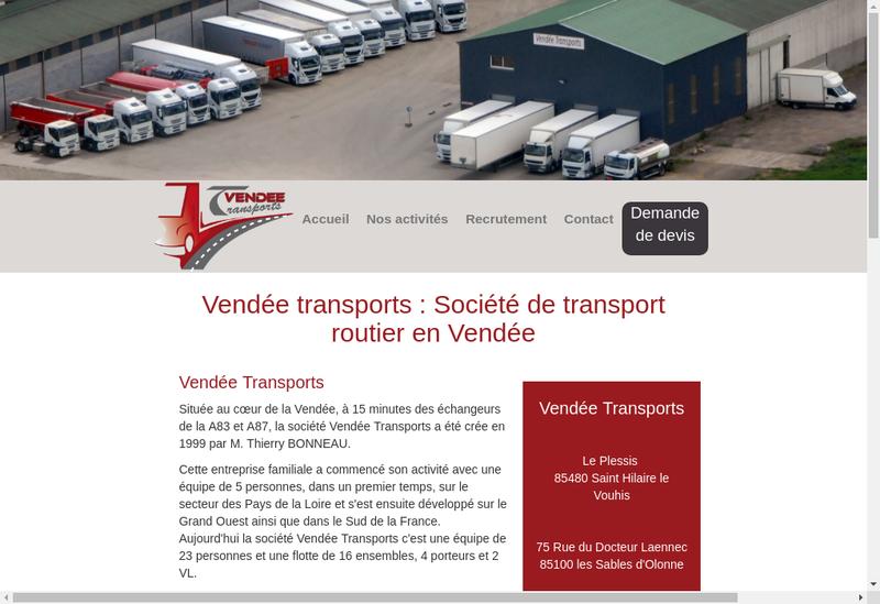 Capture d'écran du site de Vendee Transports