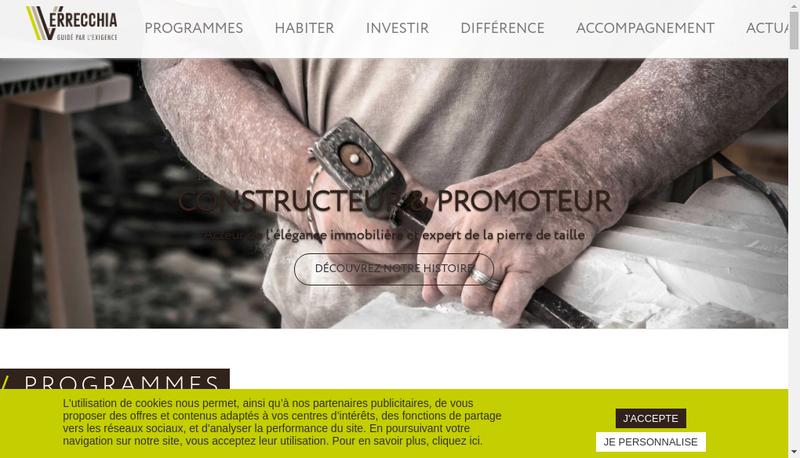 Capture d'écran du site de Construction Verrecchia