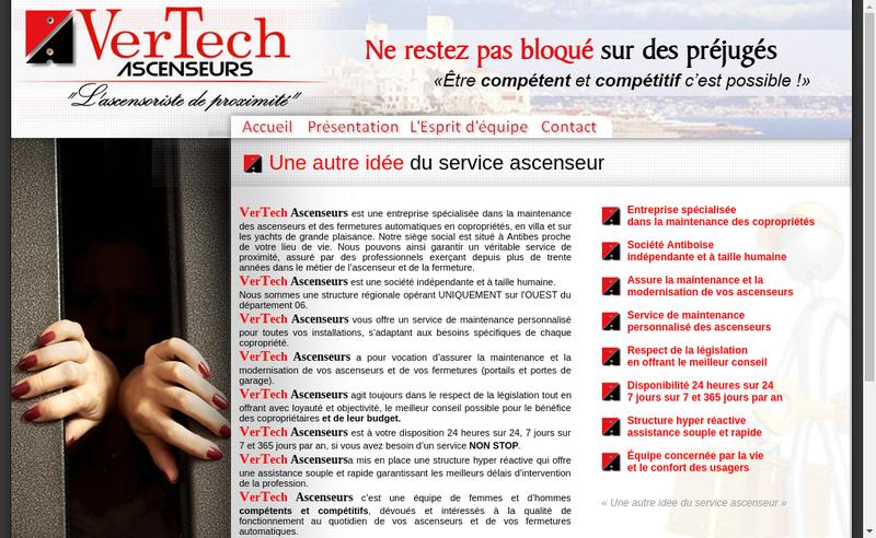 Capture d'écran du site de Vertech