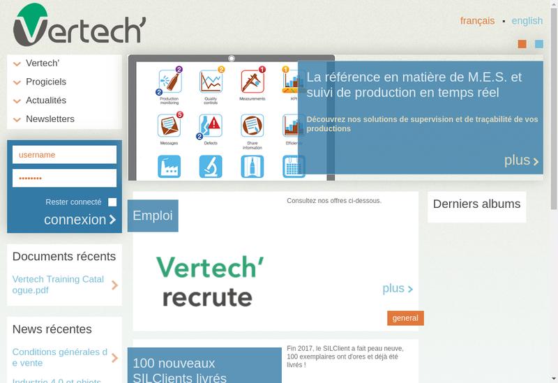 Capture d'écran du site de Vertech'