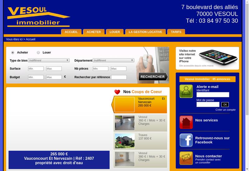 Capture d'écran du site de Vesoul Immobilier
