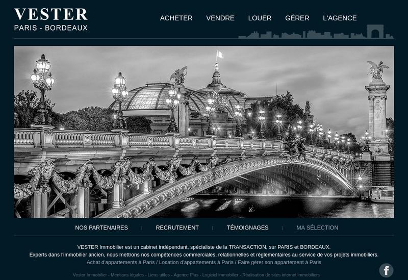 Capture d'écran du site de Vester