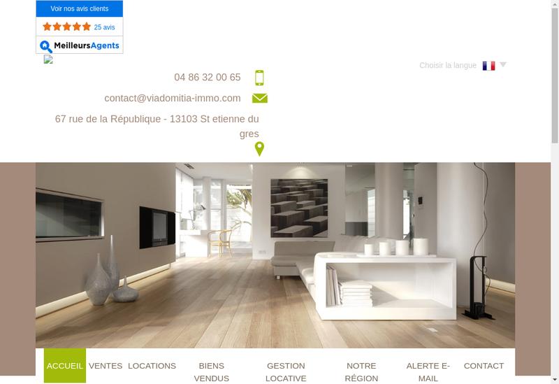 Capture d'écran du site de Via Domitia Immobilier