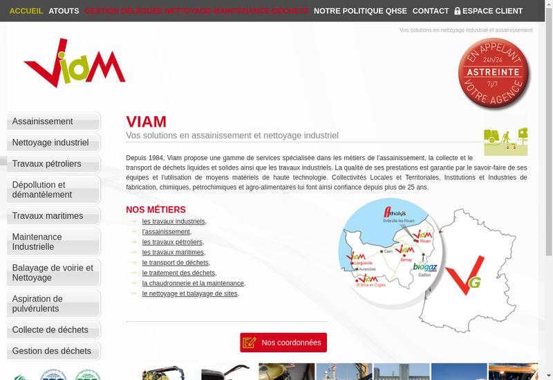 Capture d'écran du site de VIAM