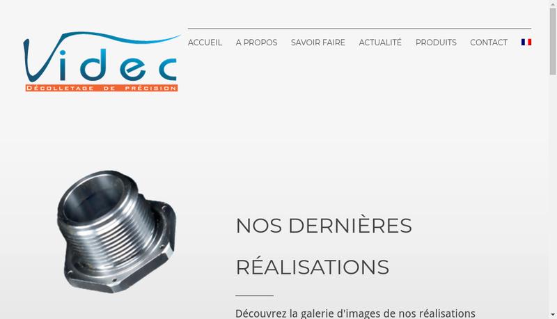 Capture d'écran du site de Videc