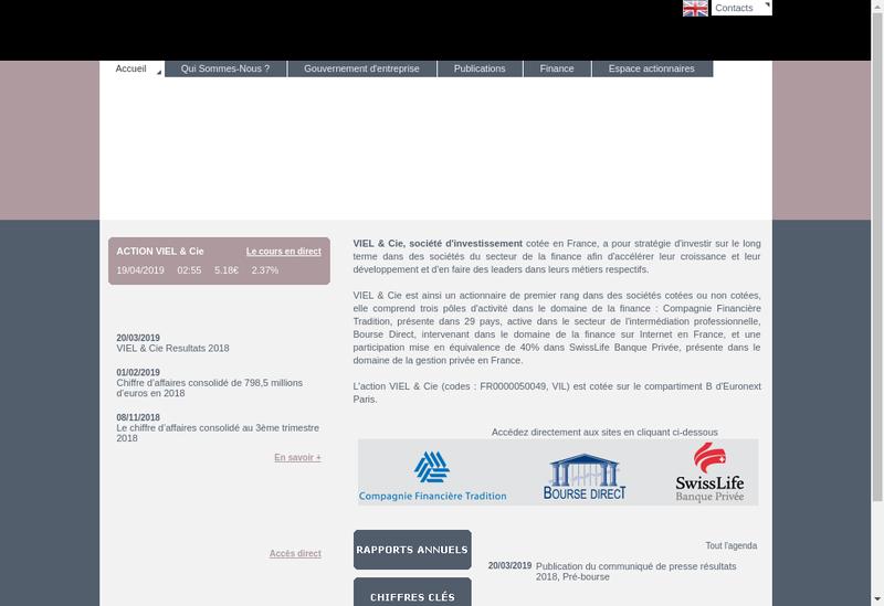 Capture d'écran du site de Viel et Compagnie Finance