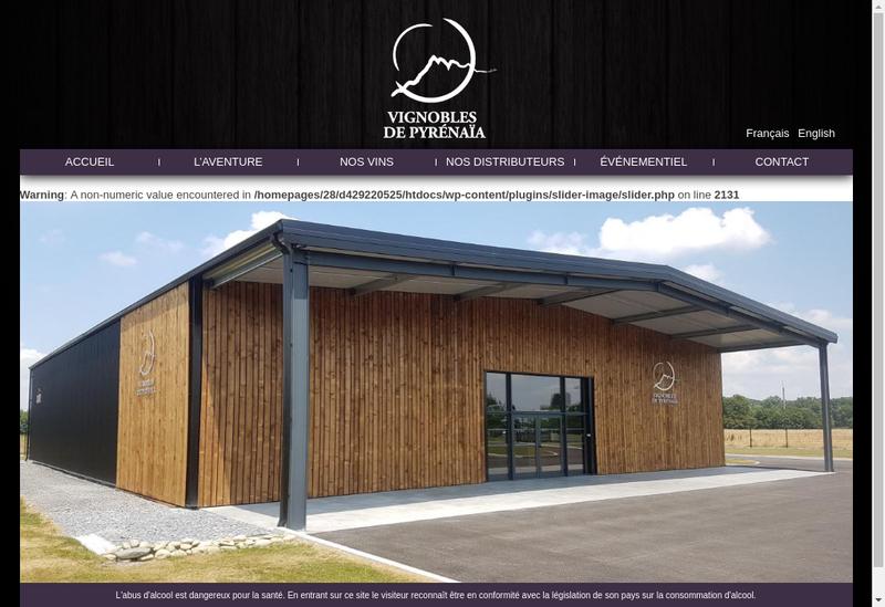 Capture d'écran du site de Vignobles de Pyrenaia