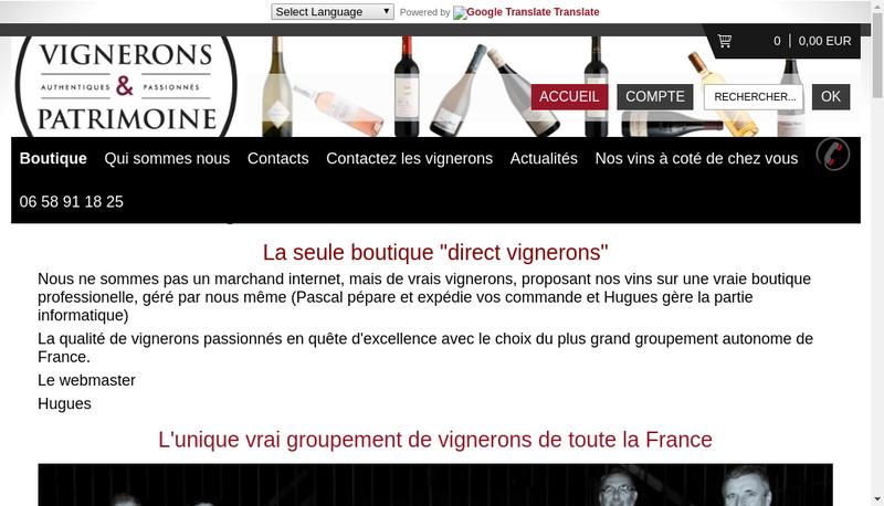 Capture d'écran du site de Vignerons et Patrimoine