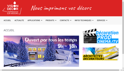Capture d'écran du site de Vision Decor
