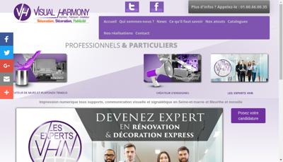 Capture d'écran du site de Visual Harmony