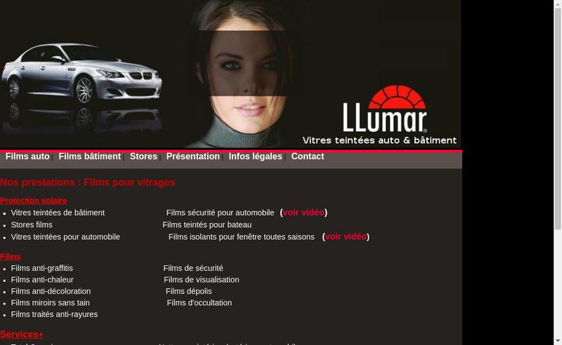 Capture d'écran du site de Glastint Formula One