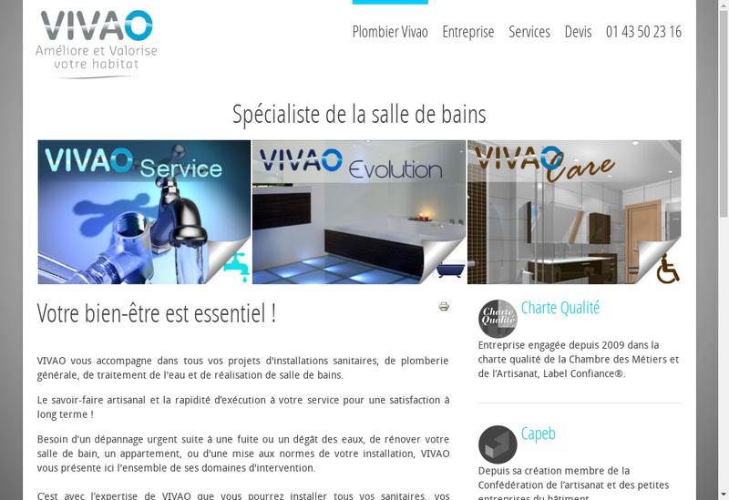 Capture d'écran du site de Vivao