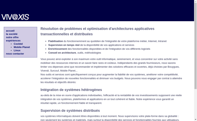 Capture d'écran du site de Vivaxis